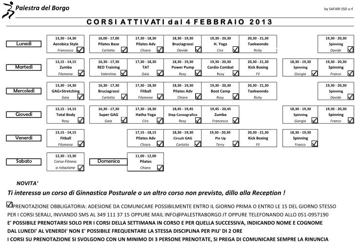 Calendario Corsi.Calendario Corsi Febbraio Palestra Del Borgo